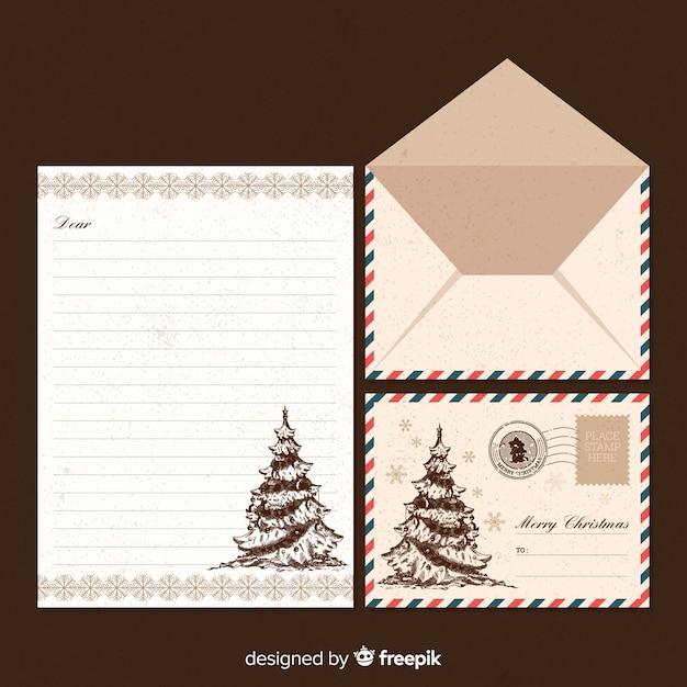 Santa claus vintage letter template Vector | Free Download