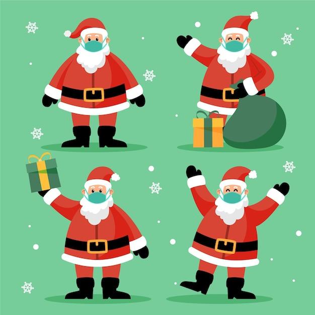 Santa claus wearing face mask collection Premium Vector