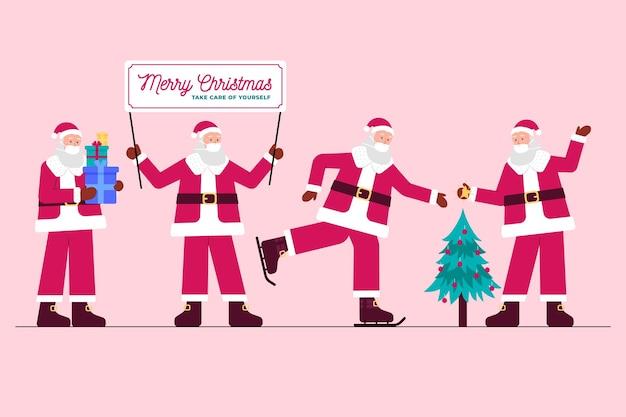 Санта-клаус в коллекции медицинских масок Бесплатные векторы