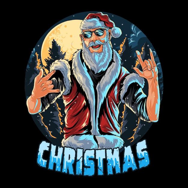 Санта-клаус в очках и жилете на рождественской вечеринке Premium векторы
