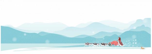 Santa claus' wife going on a dog sledge Premium Vector