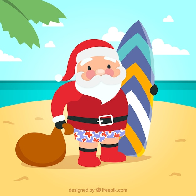 Santa claus with a surfboard illustration Vector | Free Download
