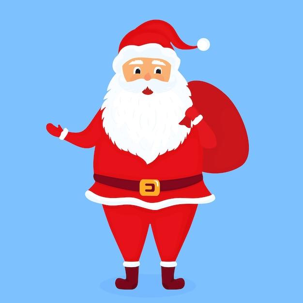Santa claus with a bag illustration Premium Vector
