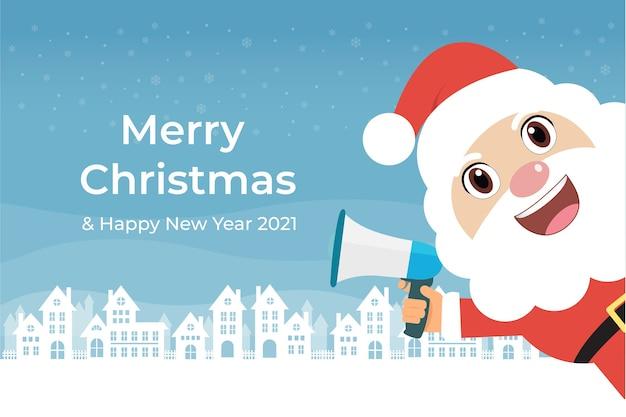 Santa claus with blue megaphone in white house Premium Vector