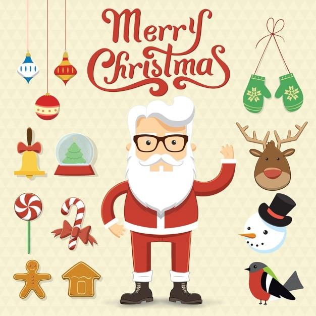 Santa claus with christmas accessories Free Vector