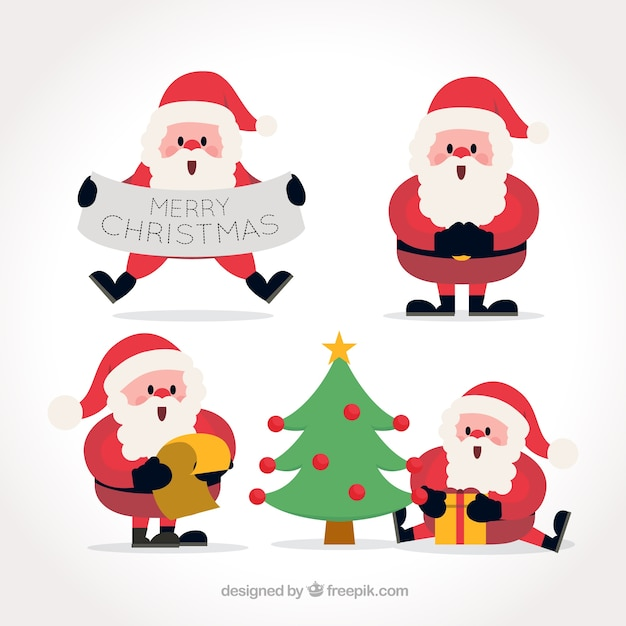 Santa Claus With Christmas Elements In Flat Design Vector