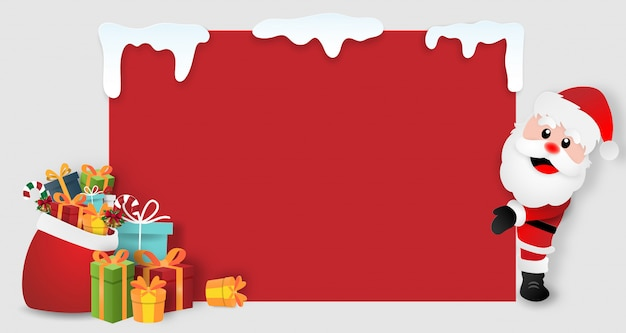 Santa claus with christmas gifts, copy space blank background Premium Vector