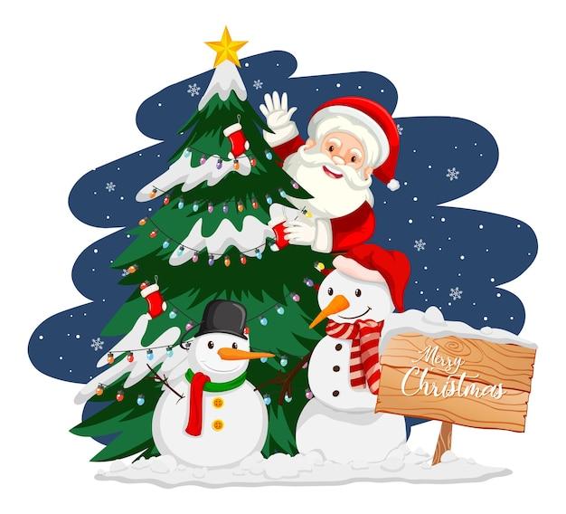 Santa claus with christmas tree and snowman at night Free Vector