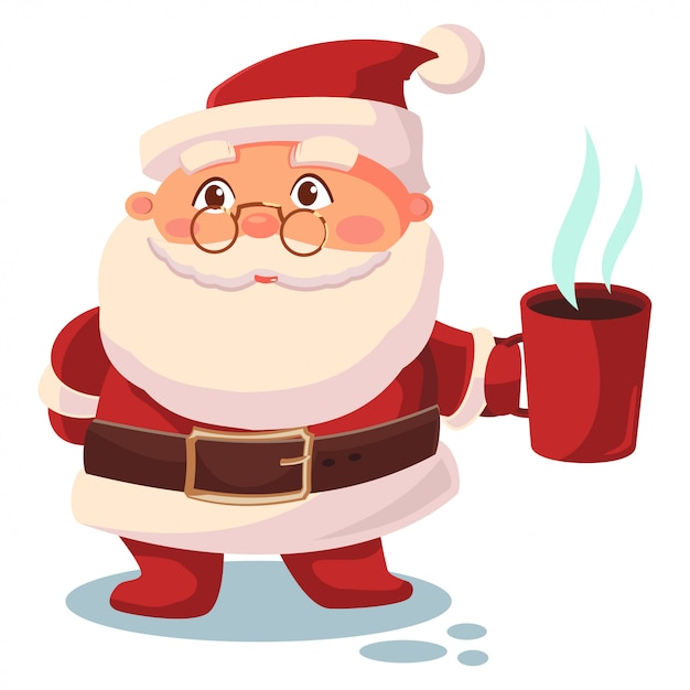 Santa claus with a cup of coffee illustration Premium Vector