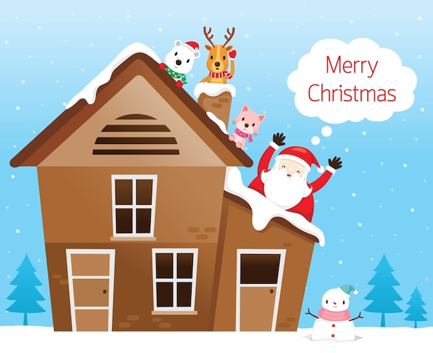 Santa claus with friend, reindeer, bear and cat happy on roof of house Premium Vector
