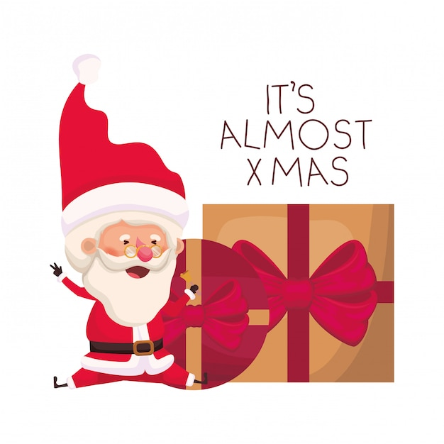 Santa claus with gifts boxs avatar character Premium Vector