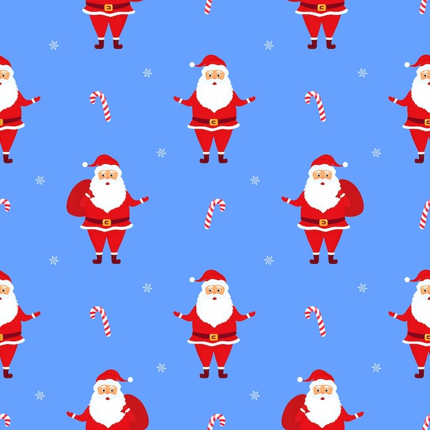 Santa claus with gifts. christmas and new year's seamless pattern Premium Vector