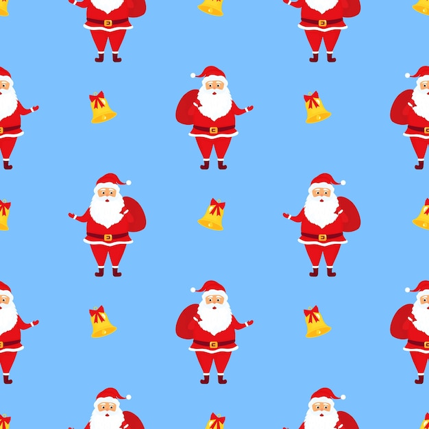 Santa claus with gifts. christmas seamless pattern Premium Vector