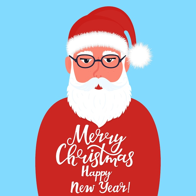 Santa claus with greeting hand drawn lettering merry christmas and happy new year Premium Vector