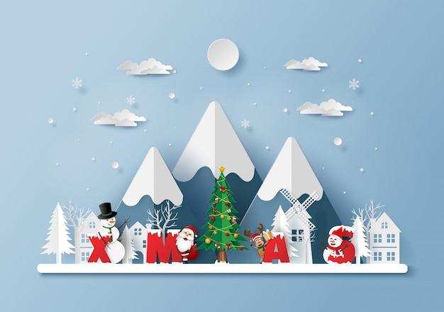 Santa claus with word xmas in the village Premium Vector