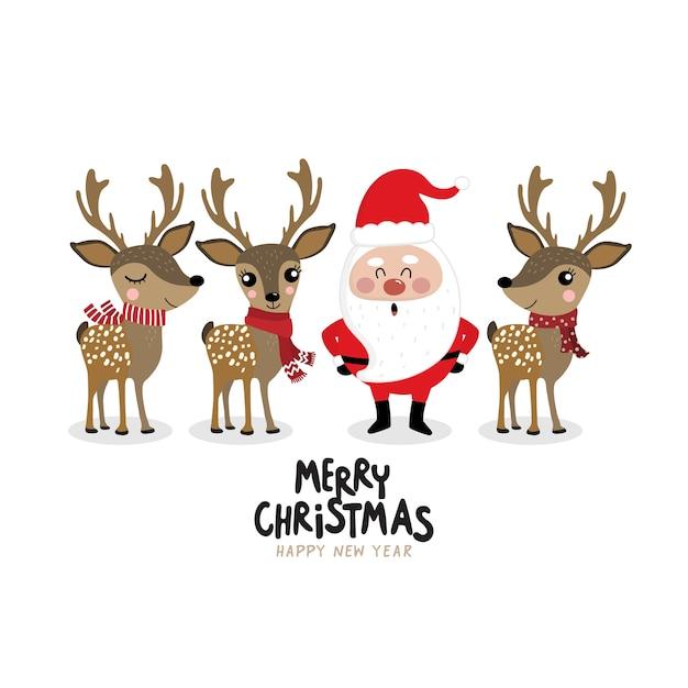 Santa clause and cute deer in winter costume. Premium Vector