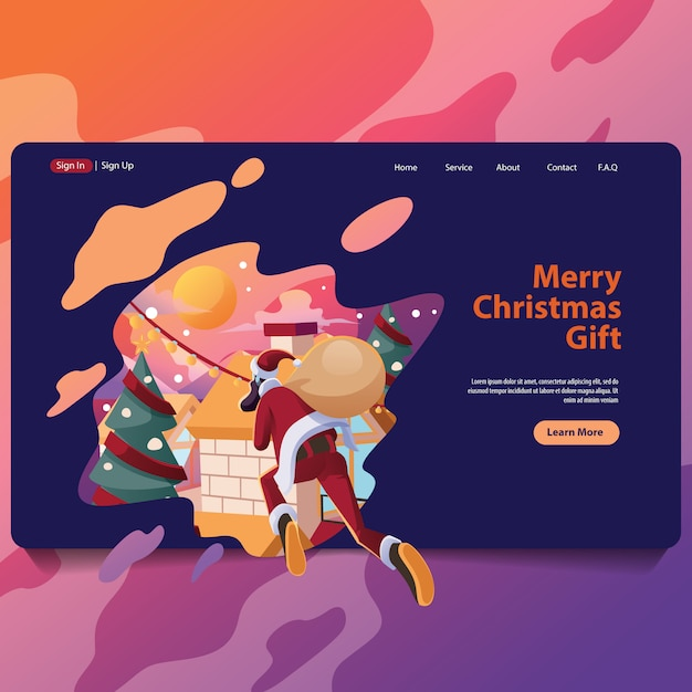 Santa delivery for christmas present landing page illustarion Premium Vector