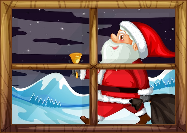 Santa delivery gift outside window Free Vector