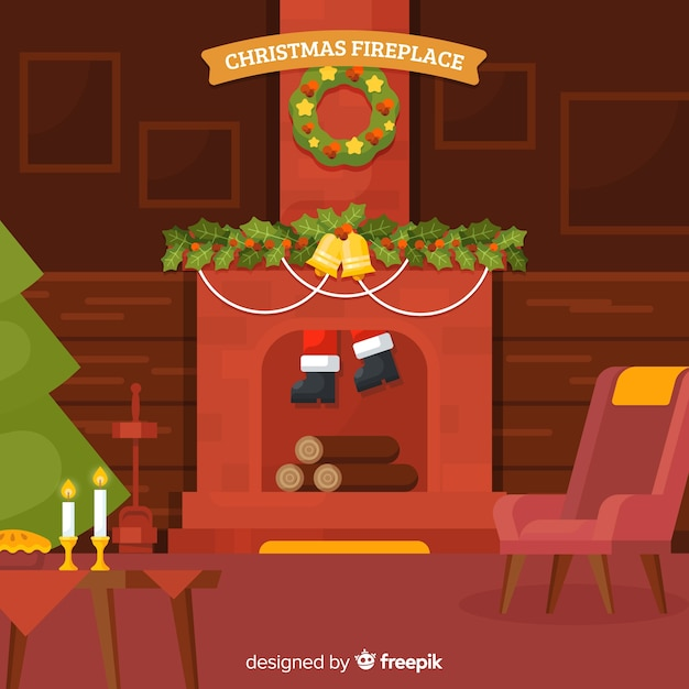 Santa down the chimney Free Vector
