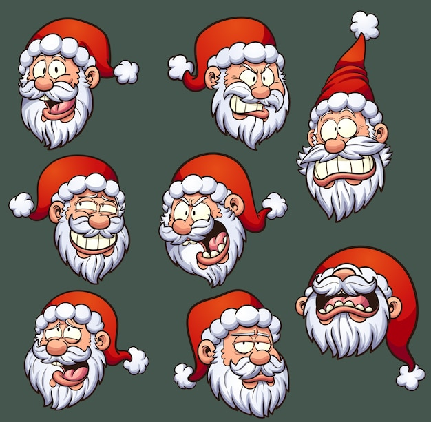 santa emoticons Premium Vector