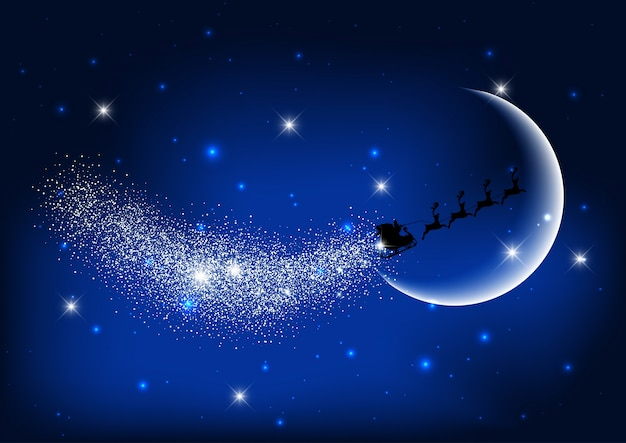 Santa flying through the night sky  Free Vector