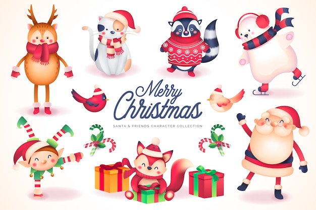 Коллекция персонажей santa & friends Бесплатные векторы