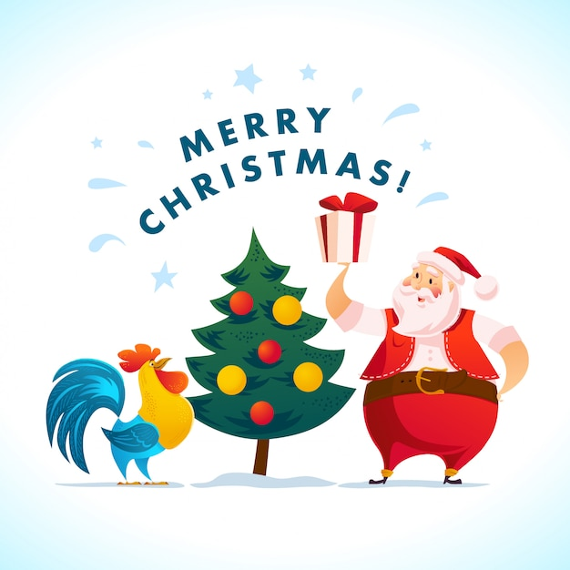 Santa and funny rooster characters portrait on white background. cartoon style. new year, merry christmas, xmas congratulation  element. good for holiday card, , flayer, . Premium Vector