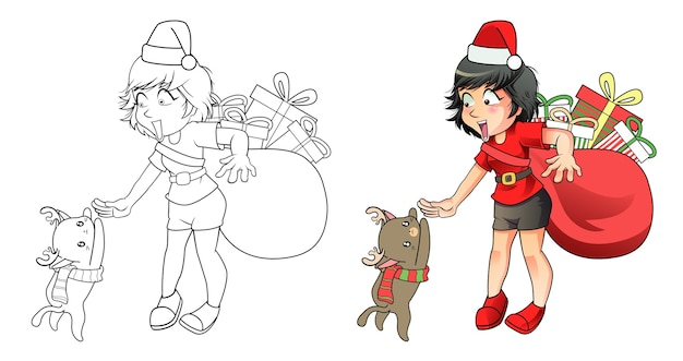 Santa girl and reindeer cat cartoon easily coloring page for kids Premium Vector