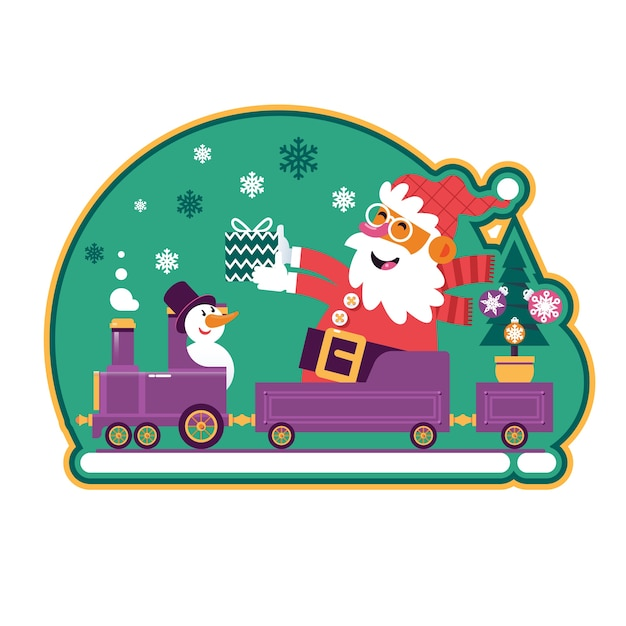 Santa green with christmas tree and presents Premium Vector
