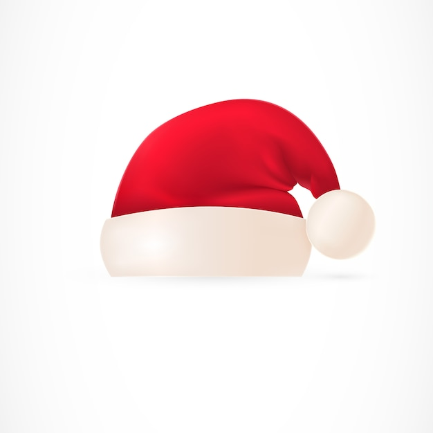 Santa hat with pompom Free Vector