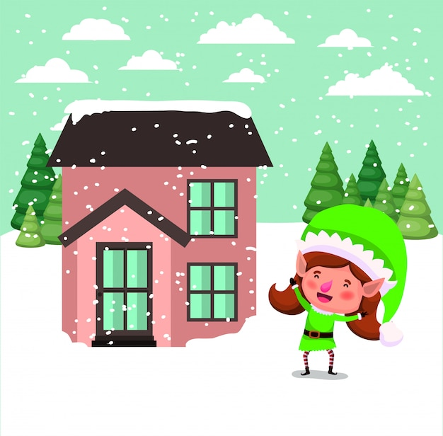 Santa helper elf with house in snowscape Free Vector