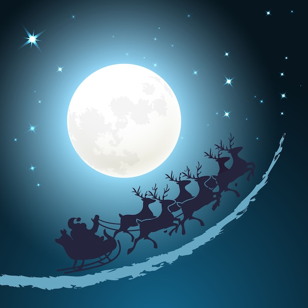 Santa on his sleigh christmas background riding through a twilight blue sky in front of the full moon with twinkling stars  vector card design  square format Free Vector
