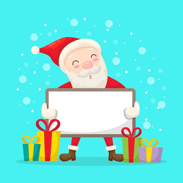Santa holding a blank banner for christmas Free Vector