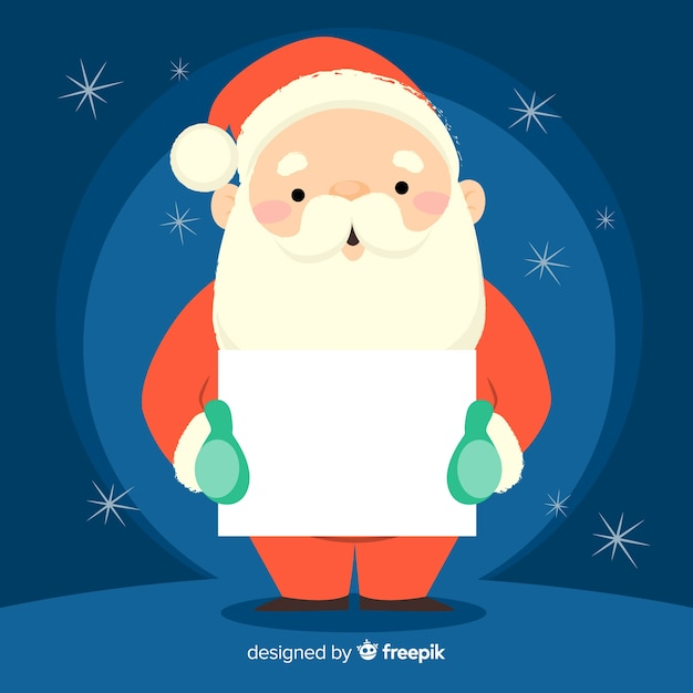 Santa holding blank sign background Free Vector
