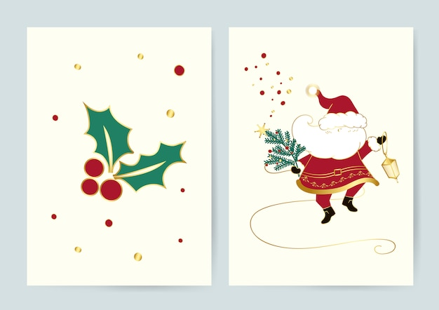 Santa and holly leaves christmas cards vector Free Vector