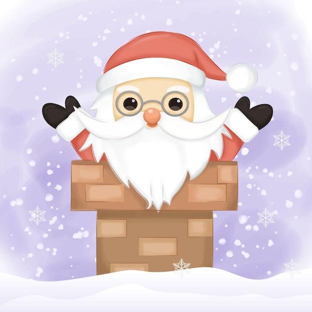 Santa illustration for christmas decoration Premium Vector