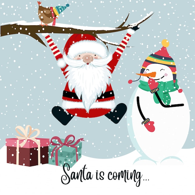 Santa is coming Premium Vector