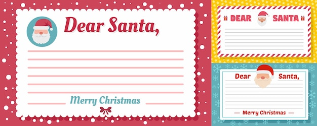 Santa letter banner set Premium Vector
