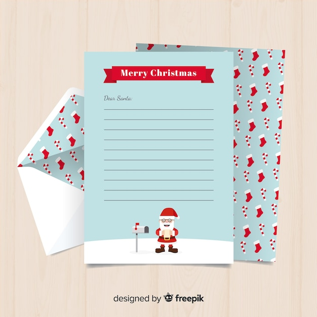 Santa Mailbox Christmas Letter Template Vector Free Download