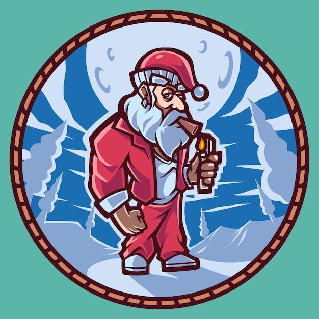 Santa mascot logo Premium Vector