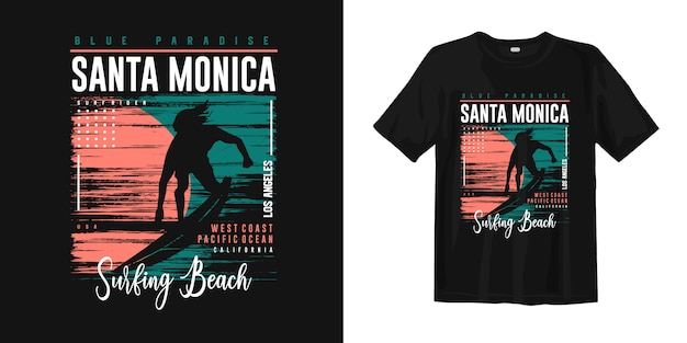 Santa monica surfing beach, los angeles graphic t-shirt apparel with surf rider silhouettes Premium Vector