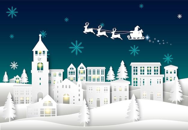 Santa on night sky in city town Premium Vector