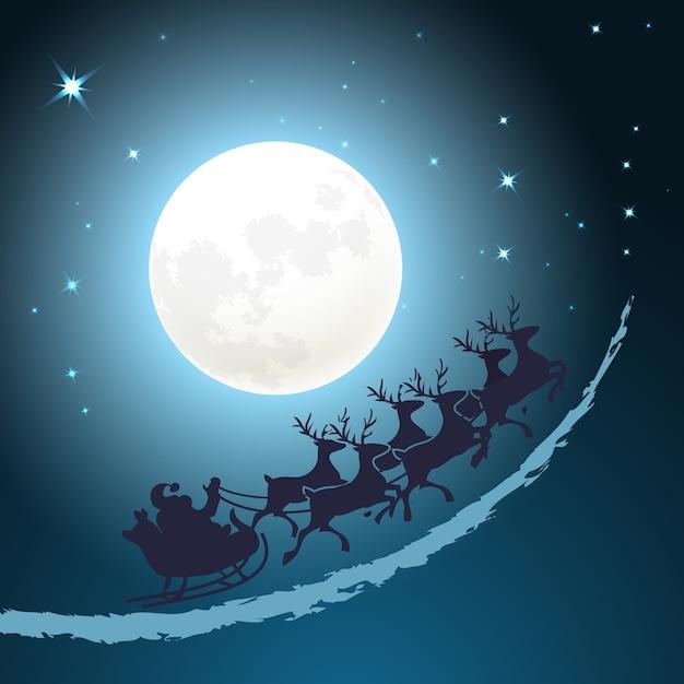 そりのクリスマスの背景にサンタがきらめく星と満月の前の夕暮れの青い空を駆け抜けるベクトルカードデザイン正方形フォーマット 無料ベクター