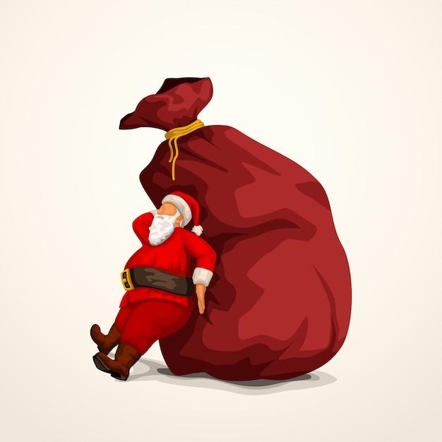Santa pushing bag Premium Vector