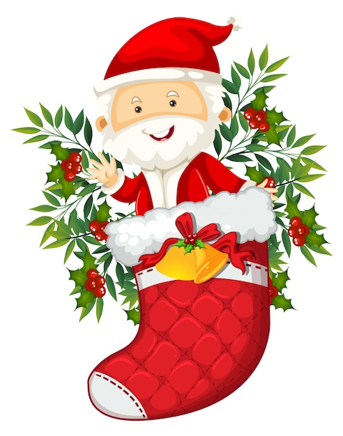 Santa in red sock Premium Vector