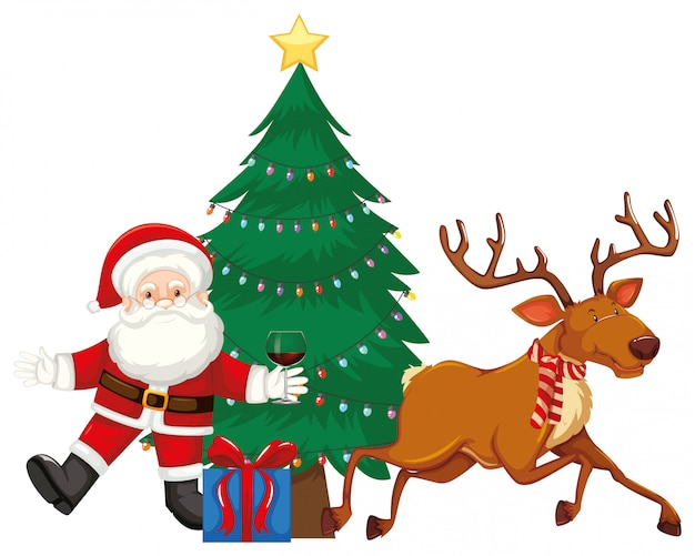 Santa and reindeer by the christmas tree Free Vector