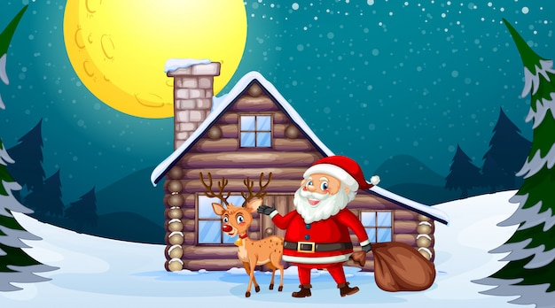 Santa and reindeer in front of wooden house Free Vector