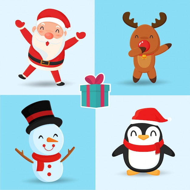 Santa reindeer snowman and penguin cute cartoon characters. Premium Vector