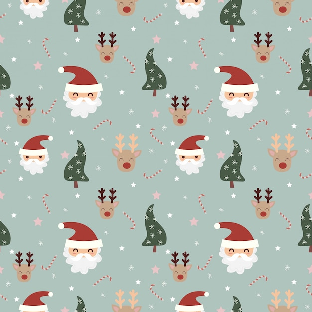 Santa and reindeer with christmas elements seamless pattern Premium Vector