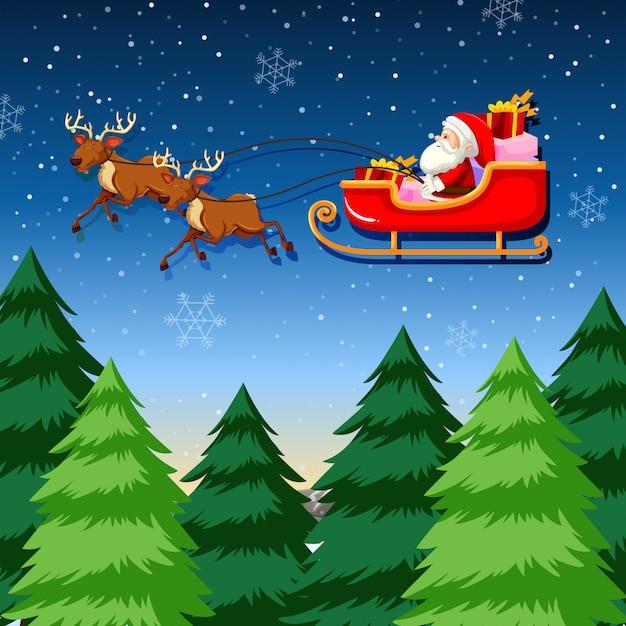 A santa riding sleigh Premium Vector